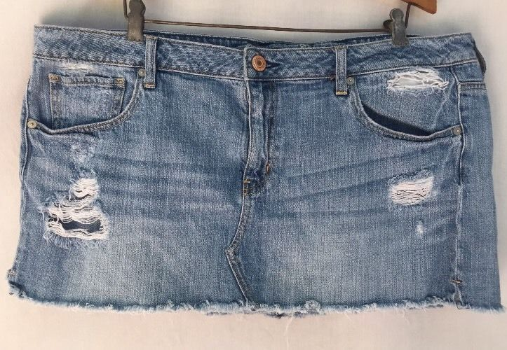American Eagle Outfitters Distressed Destroyed Denim Blue Jean Skirt Sz 18   eBay