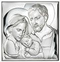 Piękny srebrny obrazek Święta Rodzina - pamiątka Chrztu, ślubu, Komunii.