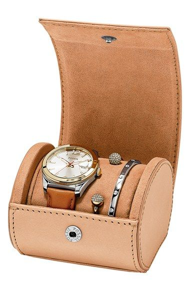 Fossil 'Perfect Boyfriend' Boxed Watch & Bangles Set, 39mm available at #Nordstrom