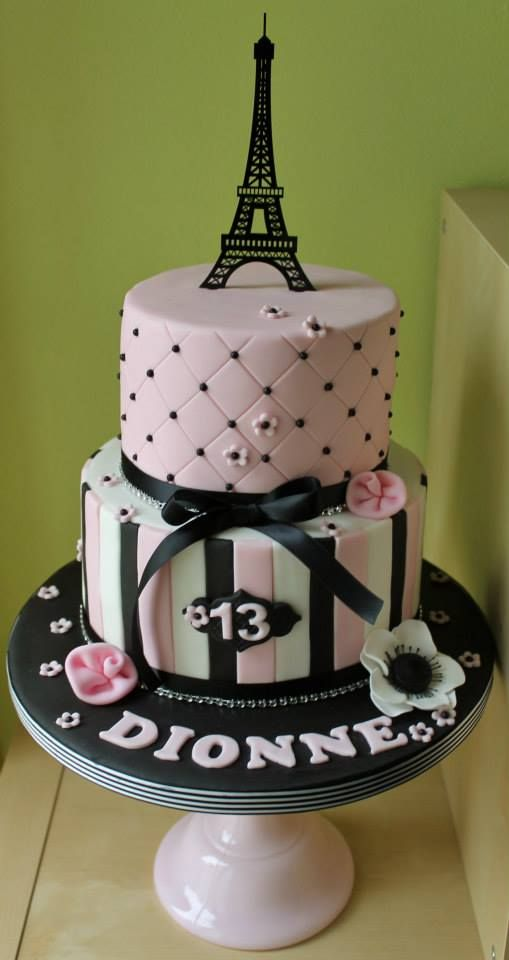 Two Tier Designed Parisian Themed Cake By Wish Upon A