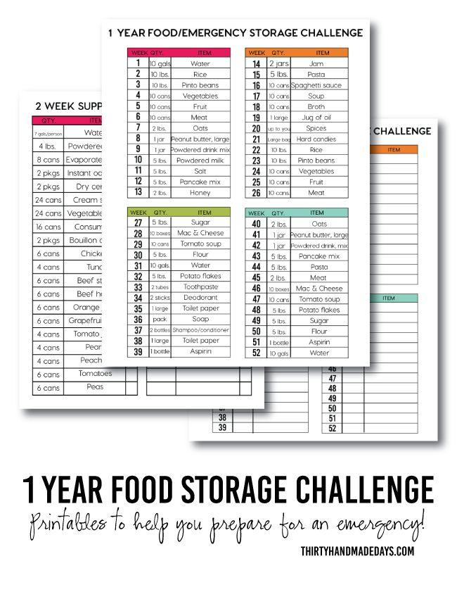 1 Year Food Storage Challenge