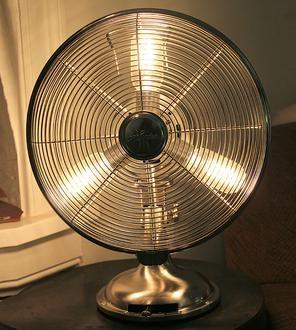 Polished Nickel Antique Fan Lamp