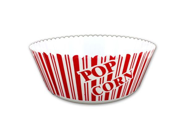 """Large Popcorn Bowl, 48 - Perfect for movie or poker nights, family get togethers and parties, this Large Popcorn Bowl features a durable plastic bowl with red and white stripes, the word """"POPCORN"""" and a scalloped lip. Measures approximately 9.75"""" across and is 3.75"""" deep. Comes loose with a UPC label.-Colors: white,red. Material: plastic. Weight: 0.2757/unit"""