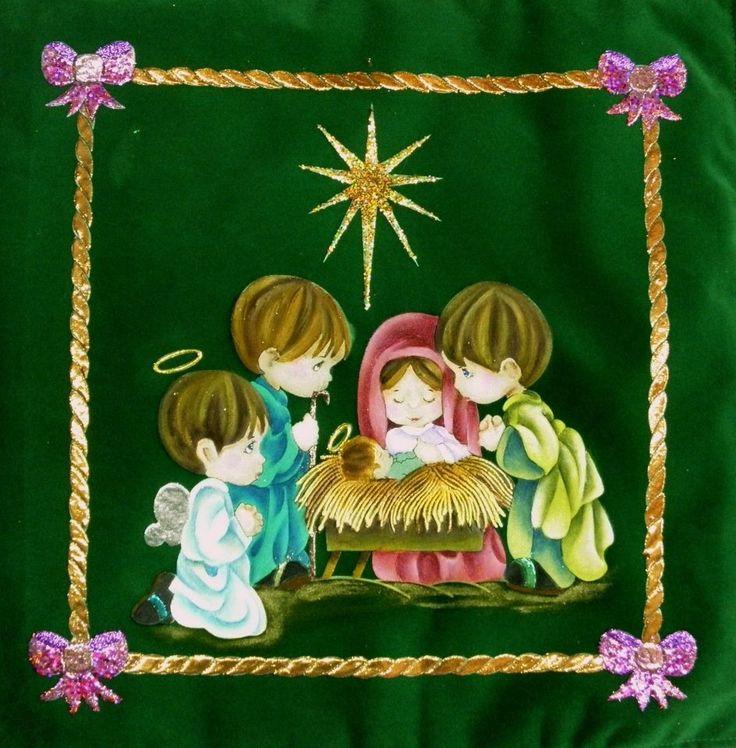 Dibujo de nacimiento  pirograbado y pintado, puede usarse como cojín o enmarcado para lo cual se le coloca guata prensada para que le de volumen.