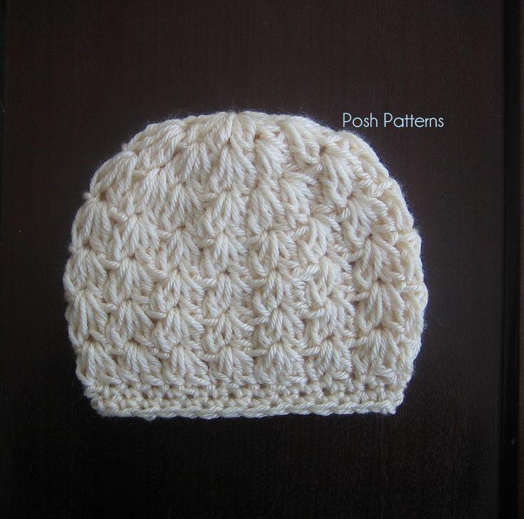 Free Crochet Baby Hat Patterns   Crochet Hat Pattern   Cluster V Stitch Beanie & Bow   Newborn to Adult
