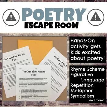 Get your students excited about poetry with this hands-on, interactive escape room. Students will work through five different classic poems (Robert Frost, Claude McKay, Amy Lowell, Georgia Douglas Johnson, and Edgar Guest).  Using their knowledge of symbolism, rhyme scheme, repetition, figurative language, and metaphor, students will work to unlock clues to return missing poets to their poems.