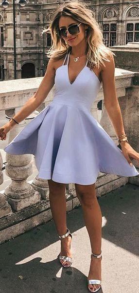 A-Linie V-Ausschnitt ärmellose Halfter Günstige Kurze Heimkehr Kleider, vpbd351 - Kleider - #Aline # Ärmellos # Günstige #Kleider # Halfter