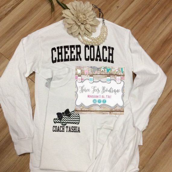 Cheer Coach Shirt. Megaphone with Glitter Bow by ThreeTeesBoutique