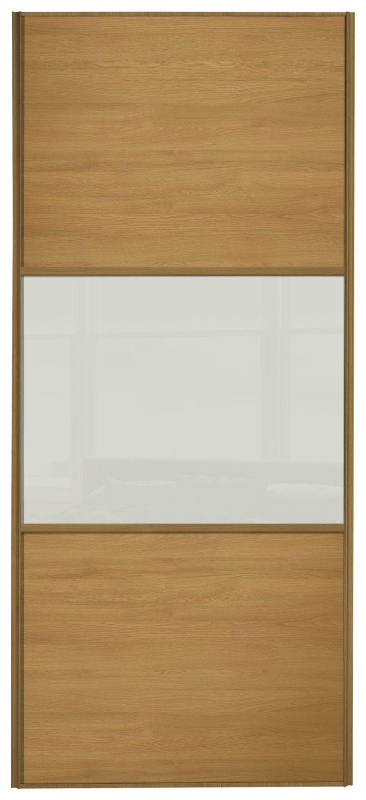 Alfa img showing gt glass hangar doors - Sliding Wardrobe Door W762mm 3 Panel Oak Soft White Glass Simple Yet Contemporary