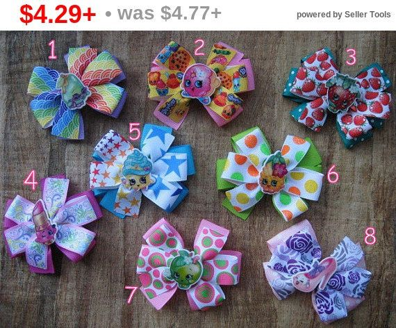 CHRISTMAS SALE Stacked bow Shopkins hair clip bow Boutique