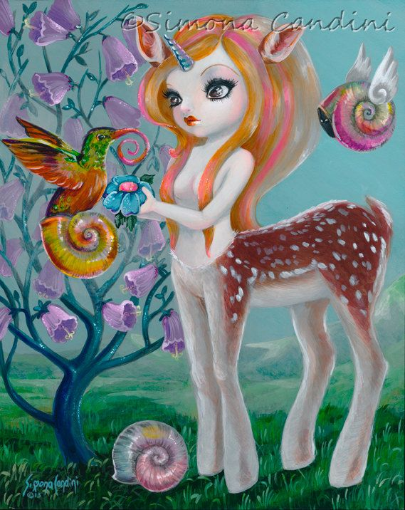 Printemps magique Simona impression signée Candini Fantasy grands yeux Pop Art surréaliste Centaurus Lowbrow Deer