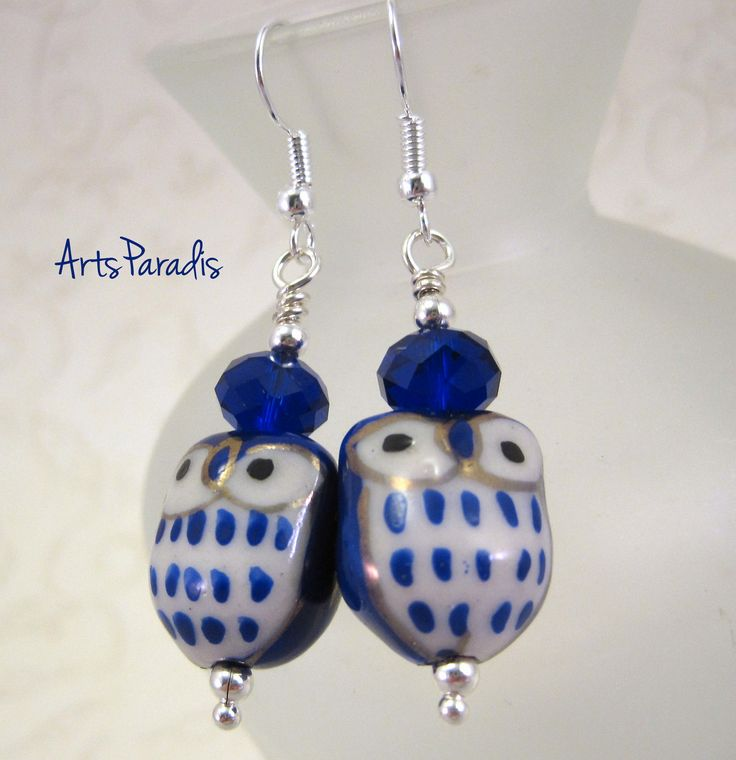 Dark Blue and White Ceramic Owl Earrings by ArtsParadis