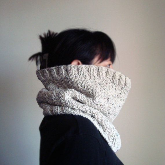 Hand knit unisex cream beige tweed shades neutrals chunky warm winter cowl, chunky cream knit cowl, oatmeal cozy unisex cowl, Infinity Scarf