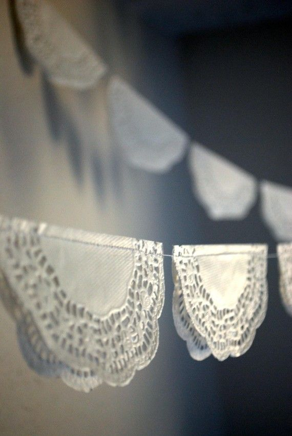 DIY garland of paper lace doilies.
