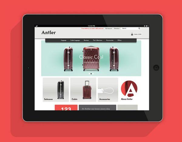 Website designed by Mammal for British luggage brand Antler