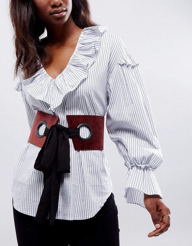Pinstripe Large Eyelet Corset Belt With Chiffon Tie - Grey Asos EV0cdFo8Dy
