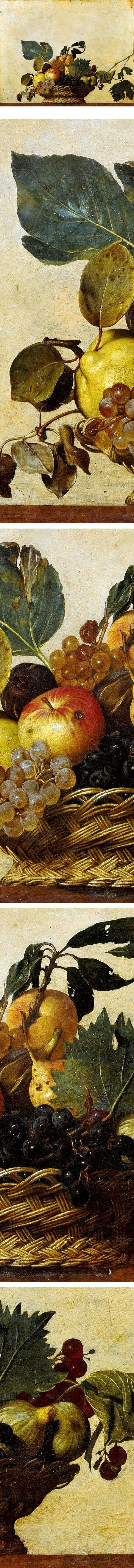 Basket of Fruit, Caravaggio (Michelangelo Merisi da Caravaggio) ... vibration of his colours are ... litherally edible,if I may... :) Sensational !: