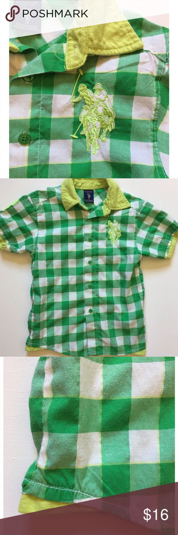 US Polo Green and Yellow Plaid Kid's Top Super stylish collared plaid top by US Polo Assn. worn twice, excellent condition! Button up, yellow collar and bottom detail to simulate layered look. Size 7X.  Thank you for stopping by @stephsgems!   🚫 No Trades 💖 Packaged with Love! Shirts & Tops Button Down Shirts