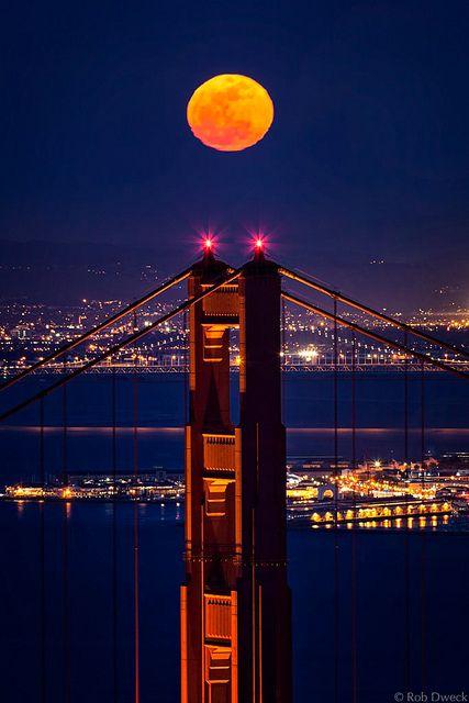 Full Moon ,Golden Gate Bridge, California, USA