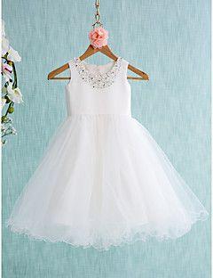 Lanting+bruid+®+baljurk+knielange+bloem+meisje+jurk+-+satijnen+/+tule+mouwloze+juweel+–+EUR+€+196.00