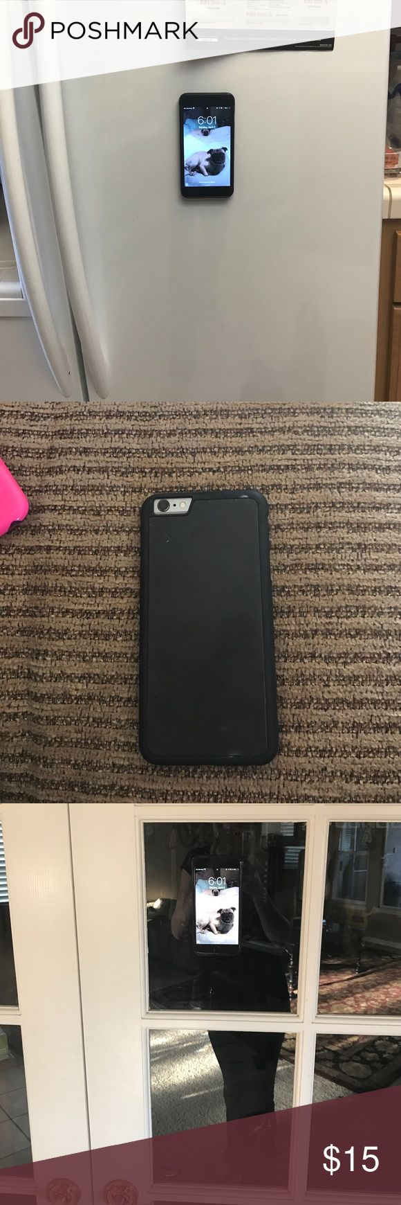 Anti gravity iPhone 6/6s plus case iPhone 6/6s plus case! Sticks to most smooth, flat surfaces (kitchen cabinets, glass, white boards, metal, computer screens, mirrors, tile) washable with water and a lint free towel Accessories Phone Cases
