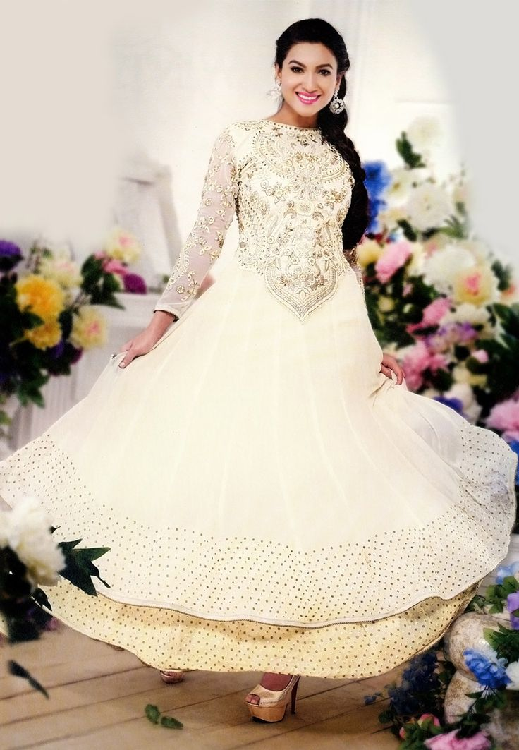Off White Faux Georgette Abaya Style Churidar Kameez Online Shopping: KEE17