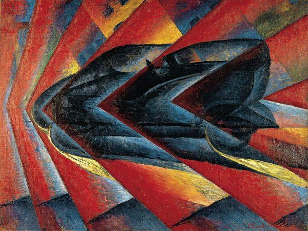 Russolo - Dynamismo d'une automobile 1912-1913 fond couleurs flammes, explosion…