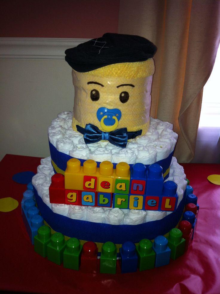 baby shower diy lego diaper cake