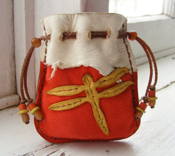 DRAGONFLY small Deerskin LEATHER Medicine Bag by pradoleather, $35.00