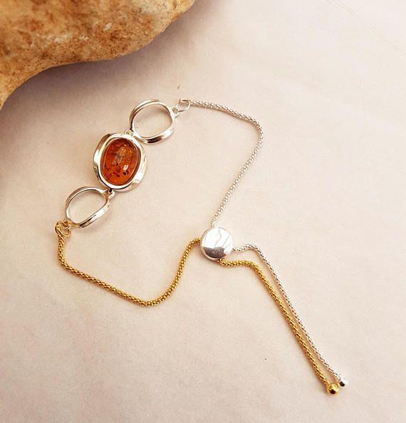 Cognac Amber bracelet Amber and silver bracelet Baltic amber