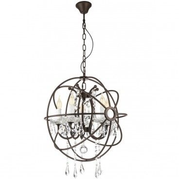 Żyrandol West Fenton 5 punktowy świecznikowy z kryształkami zamknięty w metalowe obręcze kolor rdzawy brąz styl vintage - LampyTanie - 929,90 PLN