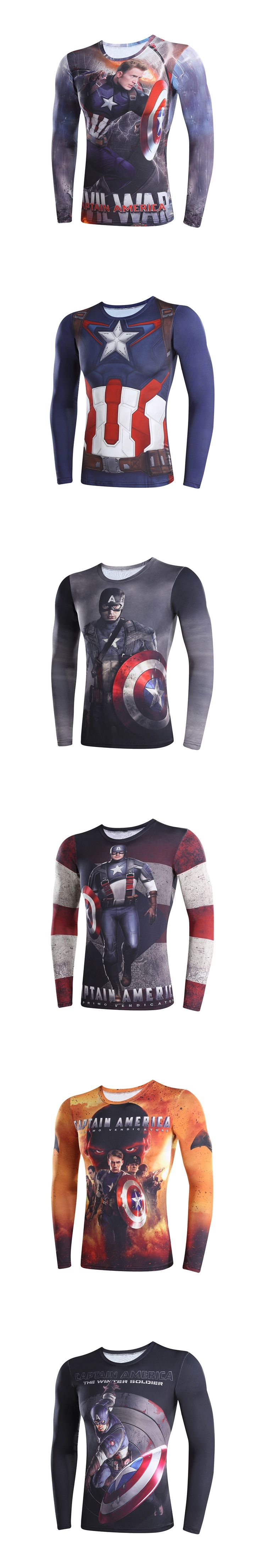 captain America 3 digital printing compressed t-shirts men 3D t-shirts long sleeve Superman Deadpool iron Man model