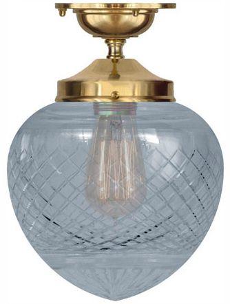 Badrumslampa Ekelundsfäste 100 i polerad mässing med droppskärm av glas- klassisk taklampa för badrum. Välkommen in till Sekelskifte och våra klassiska lampor!