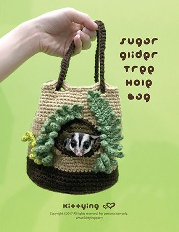Crochet Pattern Sugar Glider Pouch Tree Hole Nest by Kittying Crochet Pattern from Kittying.com | Crochet Pattern Sugar Glider Pouch Tree Hole Nest, Autumn Crochet Pattern, Bag, crochet bag, Crochet Carrier, Crochet Fern Leafs, Crochet Pattern, crochet patterns, Crochet Pet Cage, crochet pouch, Crochet Sugar Glider, Fleece, Mouse, Pets, Small Animal, Spring Crochet Pattern, Sugar glider, Sugar Glider Home, Sugar Glider Next, Sugar Slider Nest, Tree hole, Tree Trunk, Winter