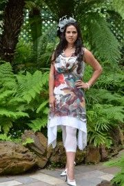 Double layer cowl neck tunic in abstract print $99