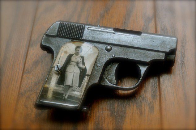 That one is a Walther Patent Mod. 9, Waffenfabrik Walter Zella-Mehlis in .25 caliber. source