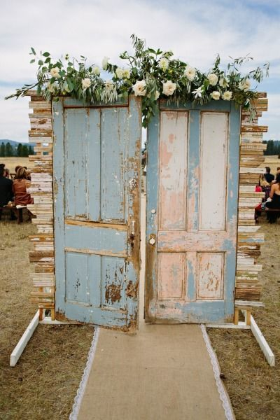 light blue vintage door ceremony entrance / http://www.deerpearlflowers.com/25-genius-vintage-wedding-decorations/