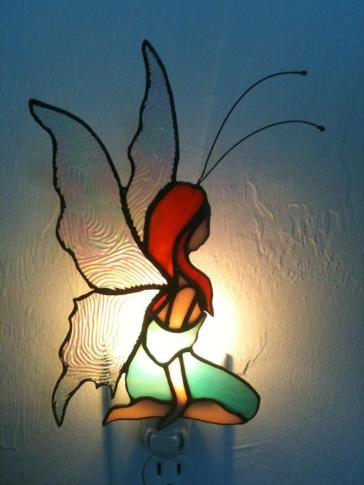 Fairy Night Light In On And Off Position - by Princess Stained Glass Workshop