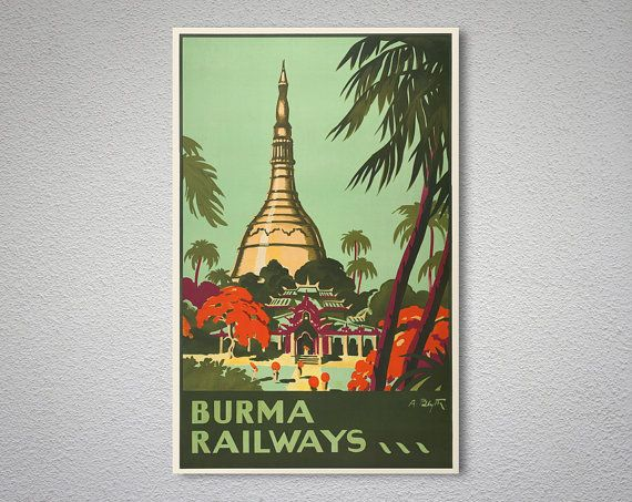 Burma Railways Vintage Travel Poster - Poster Paper, Sticker or Canvas Print  For Bulk Orders (minimum order 30 items) please contact us.  WORLDWIDE EXPRESS SHIPPING!!  DOOR-TO-DOOR DELIVERY IN 3-5 DAYS, ANYWHERE IN THE WORLD!! NEXT DAY DELIVERY OPTION IS ALSO AVAILABLE!!  Beginning from February 15th, 2017, we are shipping ALL ORDERS via express cargo services (DHL, FedEx, UPS, TNT etc.).  We prepare all orders in 1-3 business days and ship via Express Delivery. You will receive a tracking…
