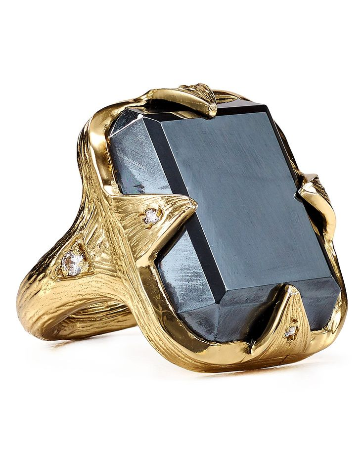 Melinda Maria Valentine Ring - 14k gold–plated brass/hematite/cubic zirconia. Great for Valentine's Day and beyond