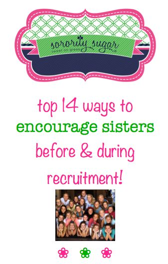 Work week and rush week are very taxing on sorority sisters. PNMs are not the only ones who are stressed and exhausted! It takes a tremendous group effort to prepare, rehearse and stage a full formal recruitment. Applaud your sister's teamwork and keep them going strong with these caring ways to praise your chapter's contributions! <3 BLOG LINK: http://sororitysugar.tumblr.com/post/94257829039/encourage-your-chapter-to-recruitment-success#notes