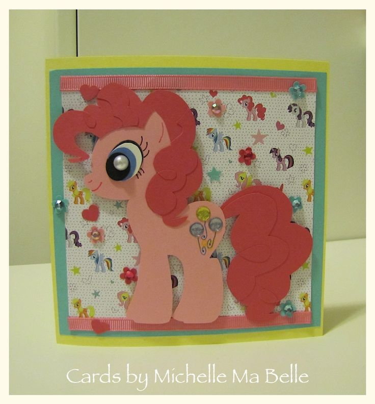 Handmade Card Birthday Card - My Little Pony Pinkie Pie Pieces all hand cut