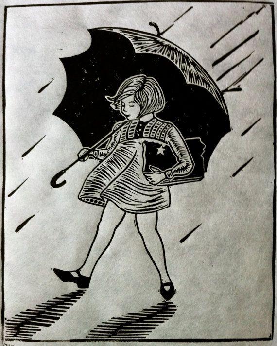 Rain Rain Small Lino Cut Print by OboyStudios on Etsy, $20.00