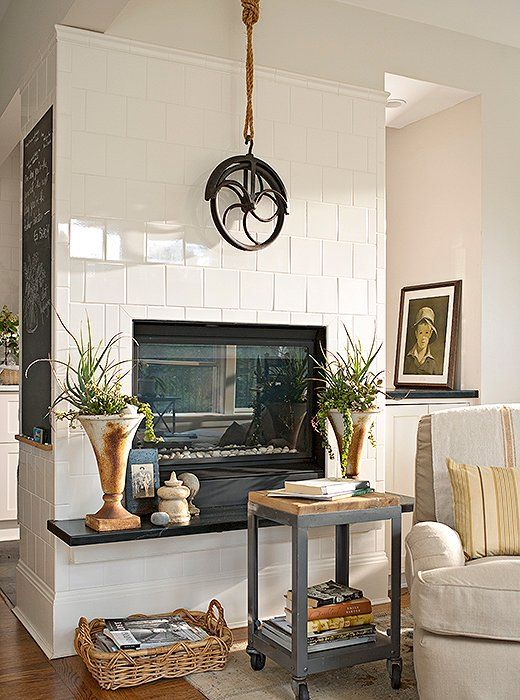 17 best ideas about industrial fireplace mantels on - How high to hang tv in living room ...