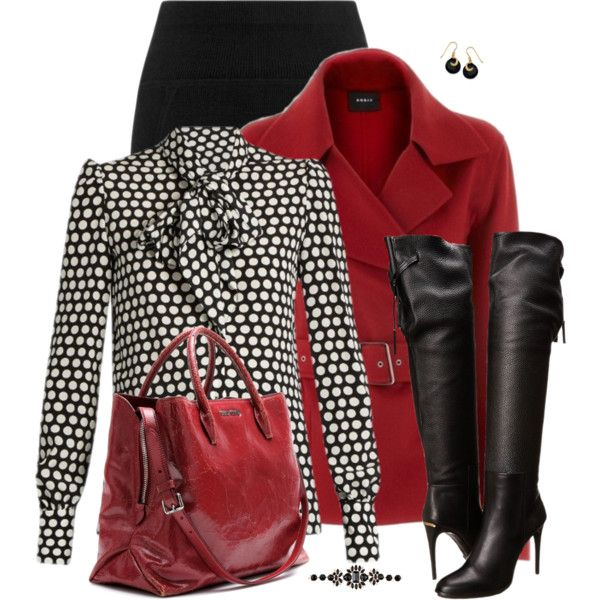 Red and Black by daiscat on Polyvore featuring Yves Saint Laurent, Burberry, Miu Miu and Irene Neuwirth