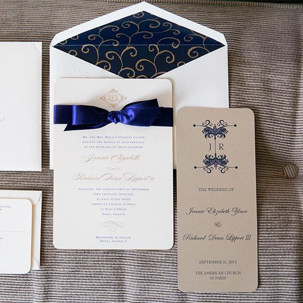 Dress up store-bought invitations with luxe ribbon.