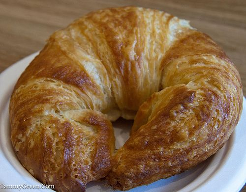 croissant with melted cheese.
