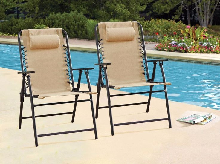 patio chairs set of 2 folding outdoor furniture beach pool garden yard deck - Folding Patio Chairs