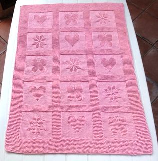 a Lovely heart and butterfly blanket patter