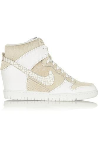 + Undercover Dunk Sky Hi leather and faux calf hair sneakers #shoes #offduty #covetme #nike